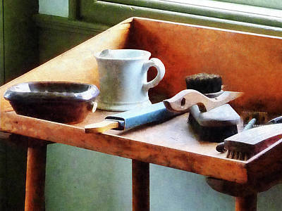 Photograph - Barber - Shaving Mug Razor And Brushes by Susan Savad