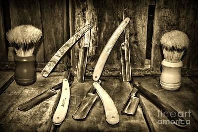 Barber Pole Photograph - Barber - The Straight Edge Retro by Paul Ward