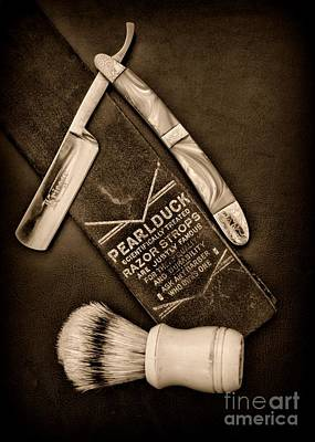 Barber - Tools For A Close Shave - Black And White Art Print