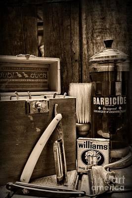 Barber - Vintage Barber Tools - Black And White Art Print