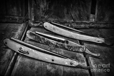 Barber Pole Photograph - Barber - Vintage Razors In Black And White by Paul Ward