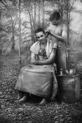 Photograph - Barber - Wwii - Gi Haircut by Mike Savad