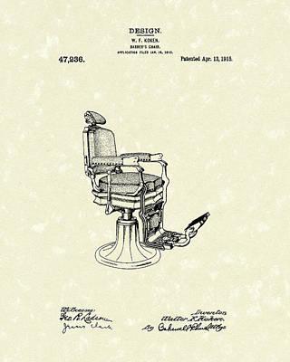 Barber's Chair 1915 Patent Art Art Print by Prior Art Design