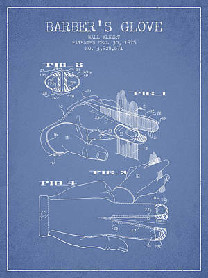 Barber Shop Drawing - Barbers Glove Patent From 1975 - Light Blue by Aged Pixel