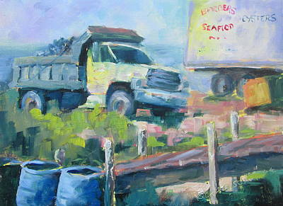 Dump Truck Painting - Barber's Seafood by Susan Richardson