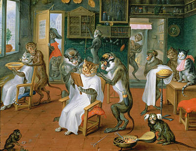 Bellows Photograph - Barbers Shop With Monkeys And Cats Oil On Copper by Abraham Teniers