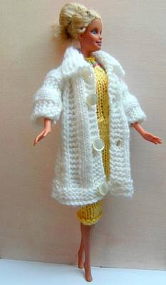 Nautical Animals - Barbie Doll in a knitted dress and coat by L M Reid