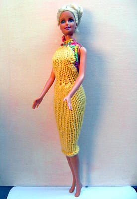 A Summer Evening Photograph - Barbie Doll In A Knitted Dress by L M Reid