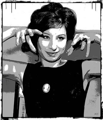 Songstress Digital Art - Barbra Streisand by Absinthe Art By Michelle LeAnn Scott