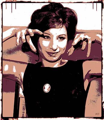 Songstress Digital Art - Barbra Streisand - Brown Pop Art by Absinthe Art By Michelle LeAnn Scott