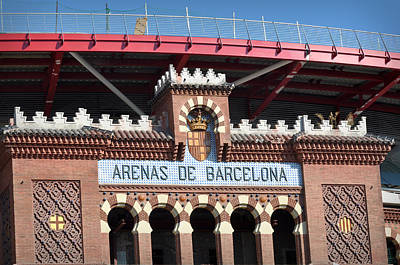 Photograph - Barcelona Bull Fighting Arena Sign In Spain by Brandon Bourdages