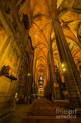 Photograph - Barcelona Cathedral Interior by Deborah Smolinske