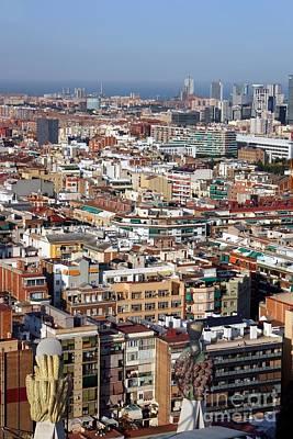 Barcelona Cityscape  Art Print by Sophie Vigneault