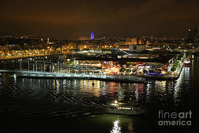 Olympic Sports - Barcelona Colorful Harbor Lights by Carol Groenen