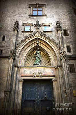 Photograph - Barcelona Gothic Church Door  by Carol Groenen