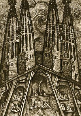 Gaudi Drawing - Barcelona La Sagrada Familia Gaudi by Amazingart Art