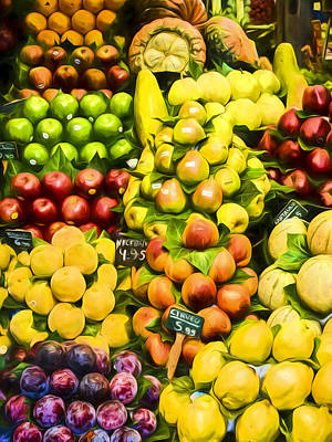 Art Print featuring the photograph Barcelona Market Fruit by Steven Sparks