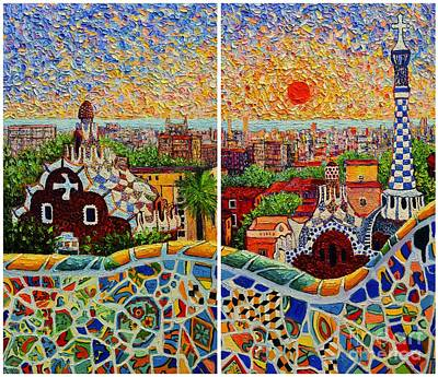 Antoni Gaudi Wall Art - Painting - Barcelona Panorama - Diptych Version by Ana Maria Edulescu