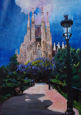 Barcelona Painting - Barcelona Sagrada Familia With Park And Lantern by M Bleichner
