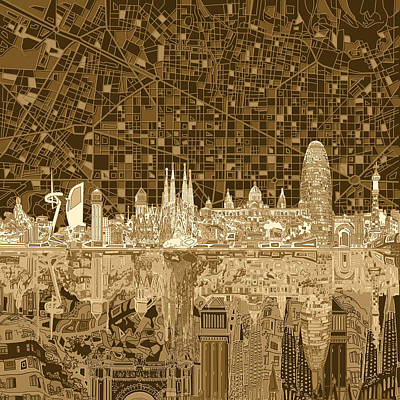 Old Map Painting - Barcelona Skyline Abstract 3 by Bekim Art