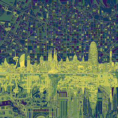 Old Map Painting - Barcelona Skyline Abstract 4 by Bekim Art