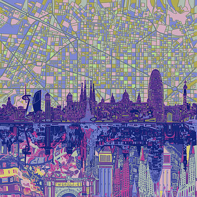 Familia Digital Art - Barcelona Skyline Abstract 6 by Bekim Art