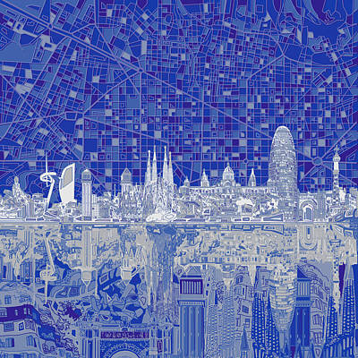 Old Map Painting - Barcelona Skyline Abstract 8 by Bekim Art