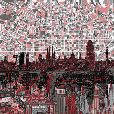 Familia Digital Art - Barcelona Skyline Abstract 9 by Bekim Art