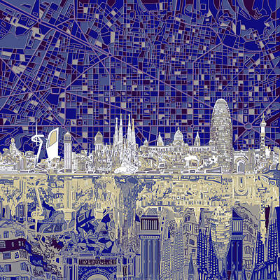 Old Map Painting - Barcelona Skyline Abstract  by Bekim Art