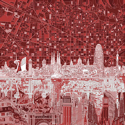 Old Map Painting - Barcelona Skyline Abstract Red by Bekim Art