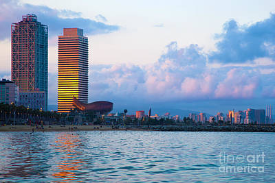Photograph - Barcelona Skyline From Sea by Michal Bednarek