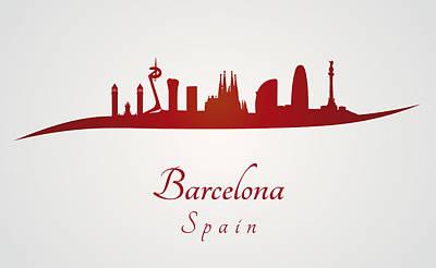 Barcelona Digital Art - Barcelona Skyline In Red by Pablo Romero