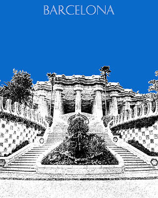 Barcelona Digital Art - Barcelona Skyline Park Guell - Blue by DB Artist