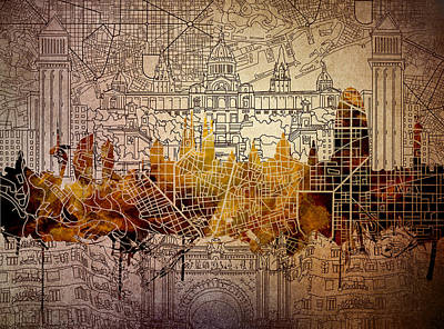 Familia Digital Art - Barcelona Skyline Vintage 2 by Bekim Art
