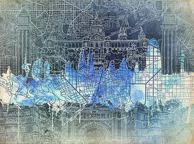 Old Map Painting - Barcelona Skyline Vintage by Bekim Art