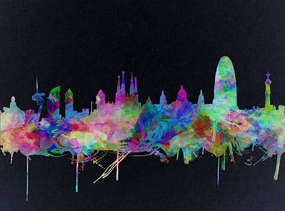 Familia Digital Art - Barcelona Skyline Watecolor 2 by Bekim Art