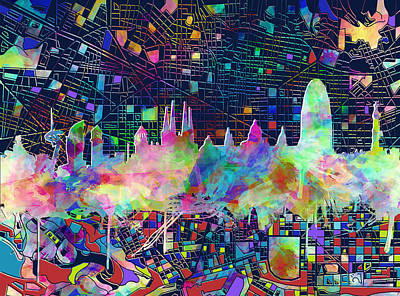 Familia Digital Art - Barcelona Skyline Watecolor 3 by Bekim Art