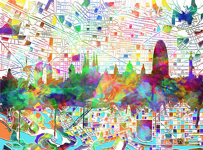 Familia Digital Art - Barcelona Skyline Watecolor 4 by Bekim Art
