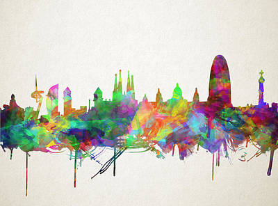 Familia Digital Art - Barcelona Skyline Watecolor 5 by Bekim Art