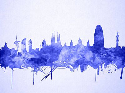 Familia Digital Art - Barcelona Skyline Watecolor by Bekim Art