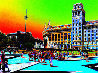 Travelling Mixed Media - Barcelona Square by A Canadian Abroad