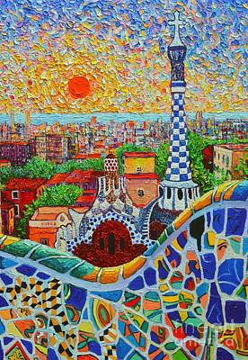 Antoni Gaudi Wall Art - Painting - Barcelona Sunrise - Guell Park - Gaudi Tower by Ana Maria Edulescu