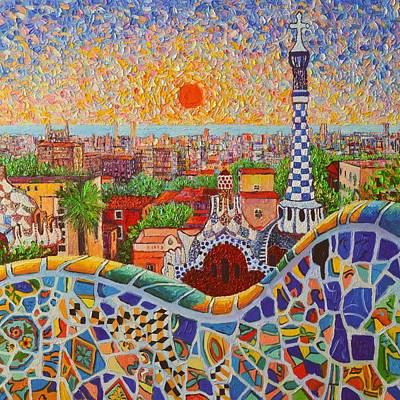 Antoni Gaudi Wall Art - Painting - Barcelona Sunrise Light - View From Park Guell Of Gaudi - Square Format by Ana Maria Edulescu