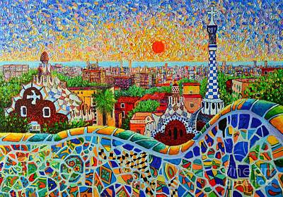 Tile Painting - Barcelona View At Sunrise - Park Guell  Of Gaudi by Ana Maria Edulescu