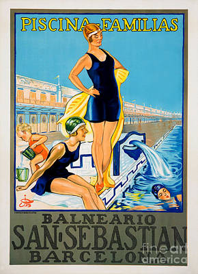 Piscina Drawing - Barcelona Vintage Travel Poster by Jon Neidert