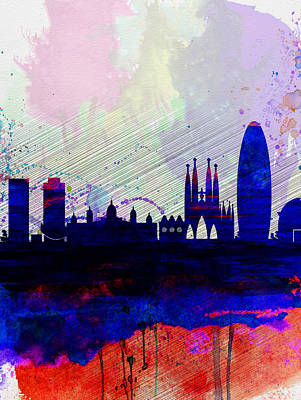 Architectural Painting - Barcelona Watercolor Skyline 2 by Naxart Studio