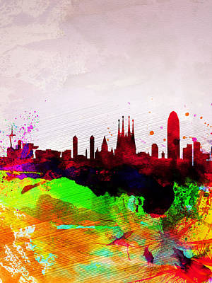Scenic Painting - Barcelona Watercolor Skyline by Naxart Studio