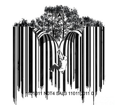 Green Movement Digital Art - Barcode Graffiti Poster Print Unzip The Code by Sassan Filsoof
