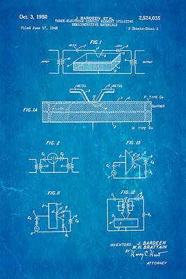Bardeen Transistor Patent Art 1950 Blueprint Print by Ian Monk