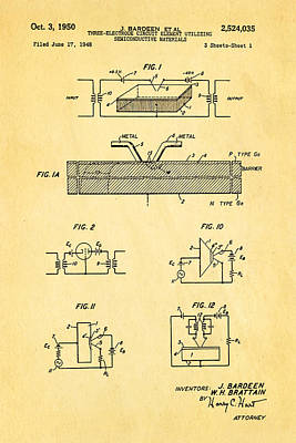 Electrical Engineer Photograph - Bardeen Transistor Patent Art 1950 by Ian Monk